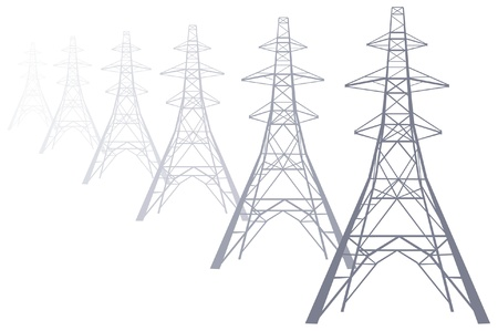 Power pylons disappearing into the distance Vector