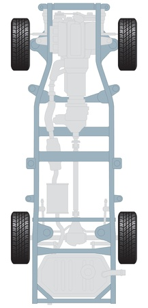 Car chassis, plan view with engine and transmission