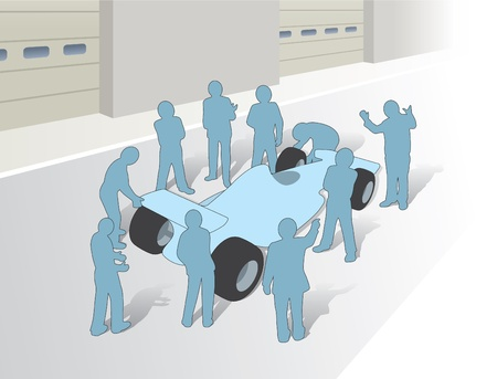 Teamwork and a group in a F1 pitstop Vector