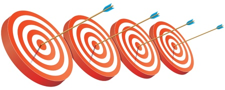 intent: On target, archery targets, successful