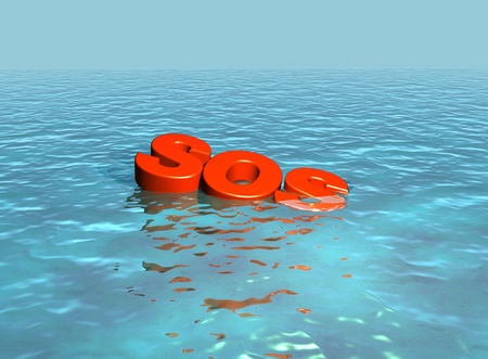 SOS, lettering sinking under the sea photo