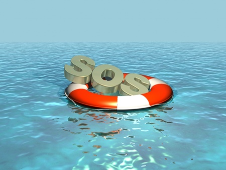 emergency call: SOS, lettering in a lifebelt, lifebuoy Stock Photo