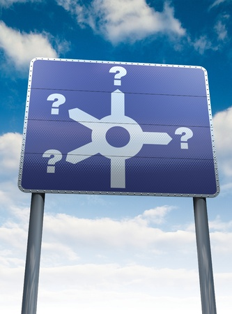 which way: Direction sign, which way  Stock Photo