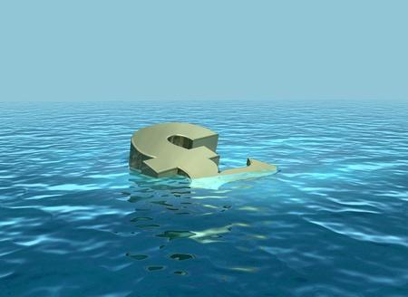 The pound sinking or struggling economy Stock Photo - 13532682