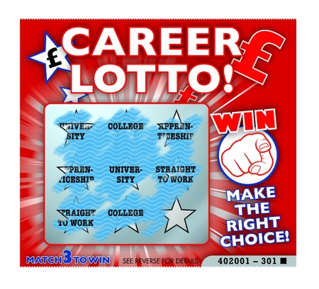 confused guidance: Career lottery, choices, education, training Stock Photo
