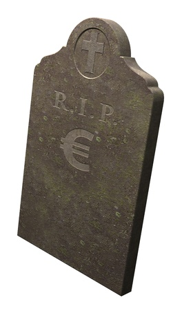 Euro, R I P  demise of the euro, euro crisis Stock Photo - 13532708