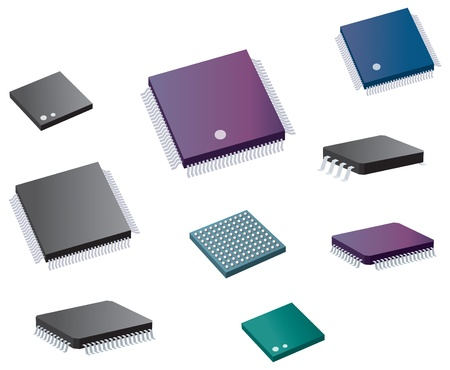 Selection of various computer chips Stock Vector - 13532692