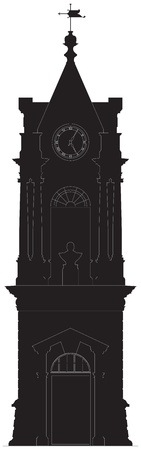 british weather: Old clock tower elevation silhouette