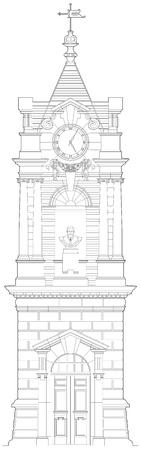 clock tower: Old clock tower detailed elevation Illustration
