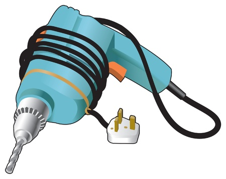 steel worker: Electric drill and plug Illustration