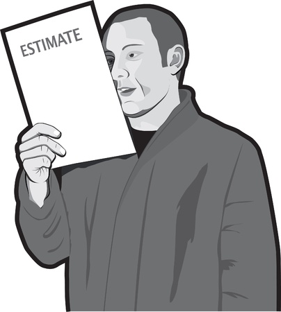 Man reading estimate Stock Vector - 13598445