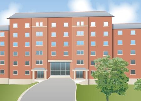 front elevation: Modern flats, front elevation Illustration