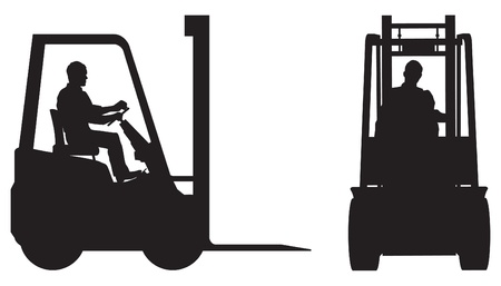 Forklift truck, elevation silhouettes Vector
