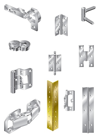 Selection of hinges, steel and brass