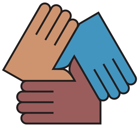 teamwork together: Hands coming together, linking, partnerships Illustration