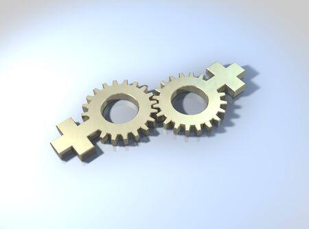 Lesbian relationships or commitment, Female gender symbols linked together   photo