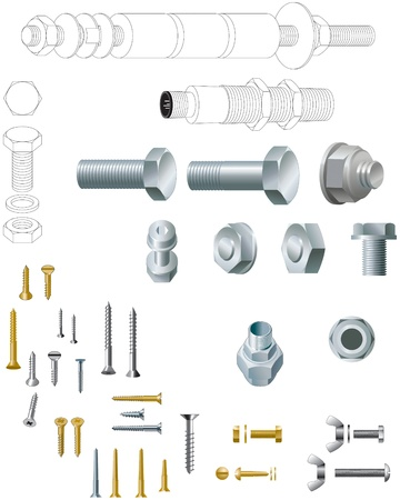 Nuts, bolts and screws, steel and brass Stock Vector - 13598482