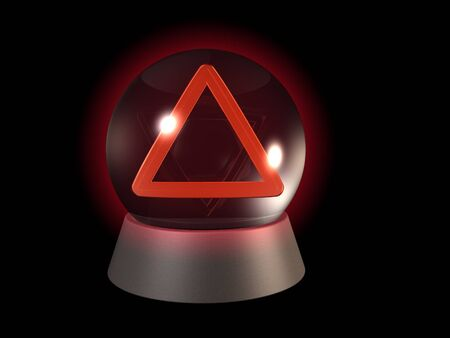 Crystal ball with warning triangle, future problems on black photo