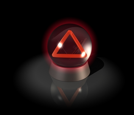 Crystal ball with warning triangle, future problems photo