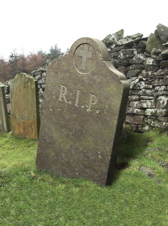 life after death: Gravestone, RIP, tomb in churchyard