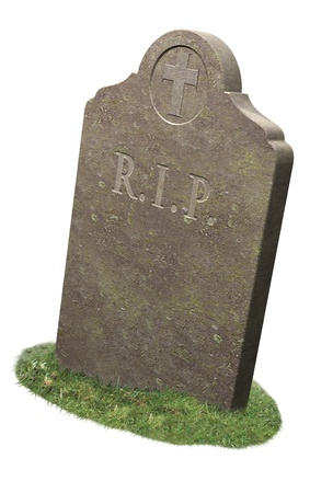 life after death: Gravestone, RIP, tomb on white background with grass