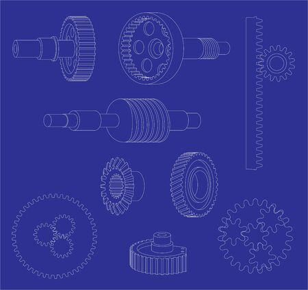 Various gears on a blueprint style background Stock Vector - 13703930
