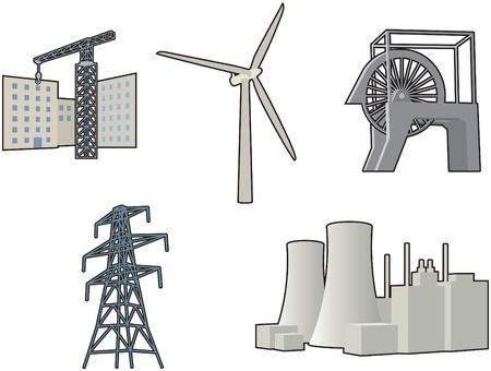 wind turbine: Ic�nes industriels Illustration