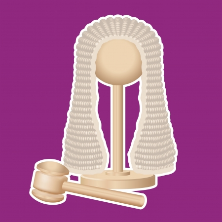 judge hammer: Judges wig and gavel