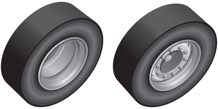 Lorry wheels, back and front Stock Vector - 13703941