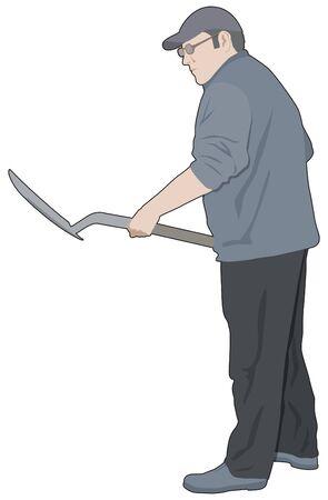 obrero: El hombre con una pala, azada, obrero o jardinero
