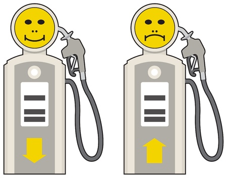 fillup: Petrol prices, up, down, happy and sad pumps Illustration