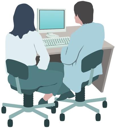 administracion de empresas: Los trabajadores de oficina, compañeros de trabajo en equipo Vectores
