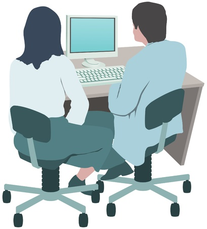 Office workers, colleagues at computer Stock Vector - 13703947