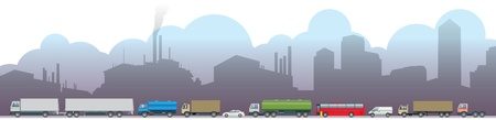 Pollution Environment Concept Icon Emissions, pollution, traffic and factories Vector