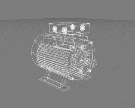 Electric motor wireframe illustration Stock Illustration - 13722036