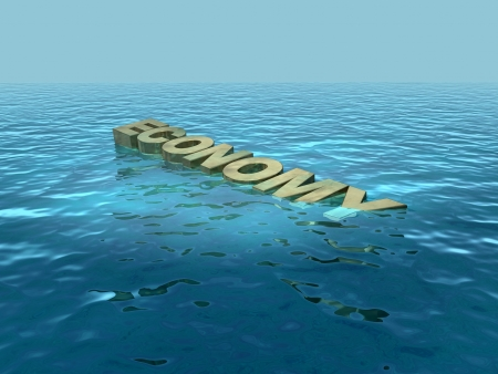 drown: The economy sinking or floundering Stock Photo