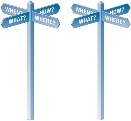 What, when, where and how signpost Vector