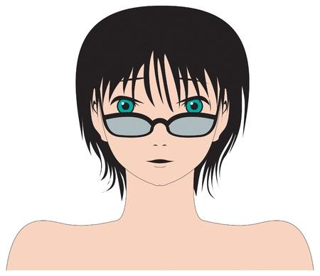 busty: Manga style female head and shoulders Illustration