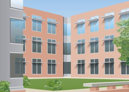 residential structures: Office, college courtyard