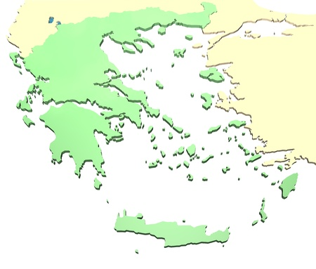 aegean: Greece and surrounding areas on white in 3D