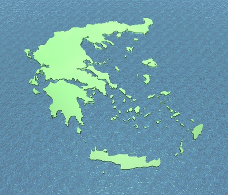 ionian island: Greece only on sea in 3D