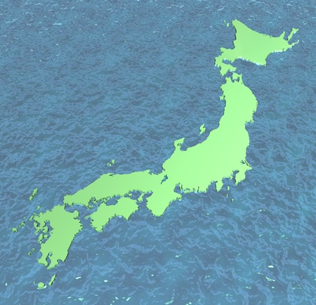 kyushu: Map of Japan in 3D on sea