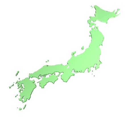 kyushu: Map of Japan in 3D on white background Stock Photo