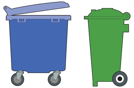 dispose: Green and blue, household and industrial wheelie bins