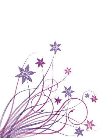mauve: Pink and mauve floral on white background