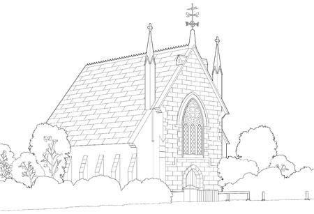 joyous: Iglesia en el campo de dibujo de l�neas
