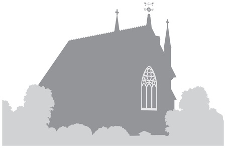 Country church silhouette Vector