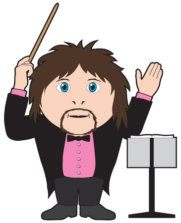 mozart: Orchestra conductor with baton Illustration