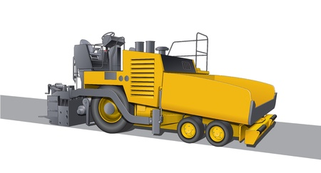 paving: Road laying asphalt machine Illustration