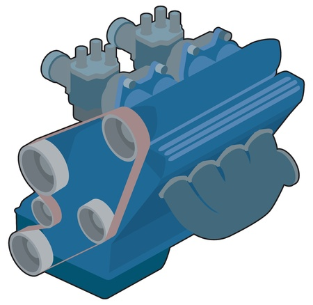 combustion: Simple car engine illustration Illustration